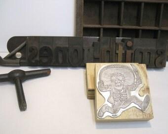 "Letterpress Printing Block ""Jose Posada Calaveras - Running Man"" - Letterpress Blocks - Print Blocks - Mounted Letterpress Block"