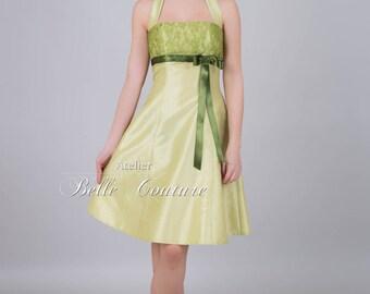 Custom Made & Handmade - A-Line Dress pastel green with lace item: pastel green/taffeta