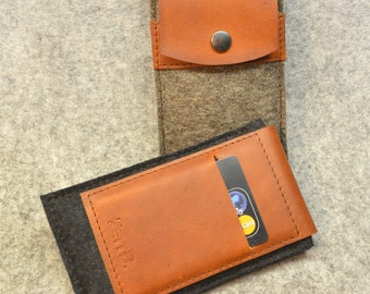 iPhone 6  / 6Plus / 5  -  Felt case with leather - sleeve