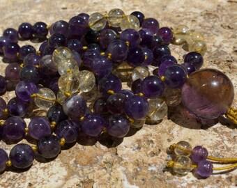 Ametrine, Amethyst and Citrine 10mm mala, Buddhist prayer beads. Reduce stress & tension, energising, joyful, adjustabel mala beads