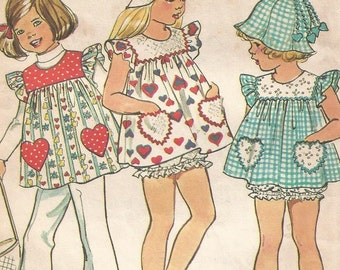 6366 Simplicity Sewing Pattern Girls Gathered Top Panties Hat Size 5 24 Breast Vintage 1970s