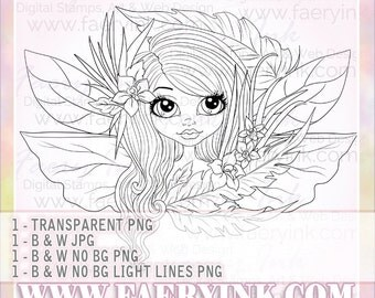 Orchids Feathers Fairy UNCOLORED Digital Stamp Image Adult Coloring Page jpeg png jpg Fantasy Craft Fae Cardmaking Papercrafting DIY