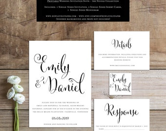 Printable Wedding Invitation Suite - the Nicole Collection