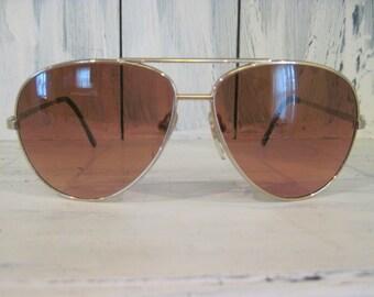 Vintage Corning Optics Serengeti Drivers double bridge aviator style sunglasses for men, red glass lenses retro accessories gift ideas