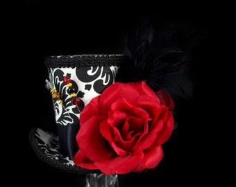 Black, White, and Red Rose Garden Large Mini Top Hat Fascinator, Alice in Wonderland, Mad Hatter Tea Party, Derby