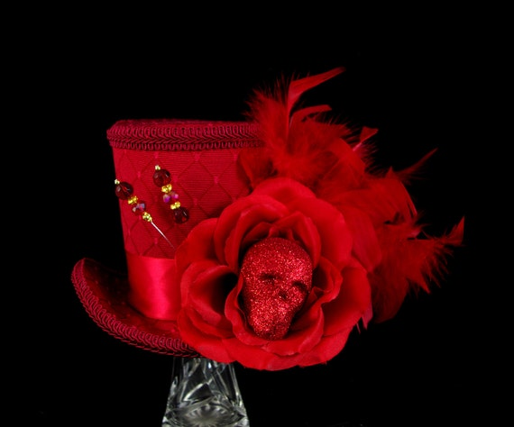 Red Death - Red on Red Glittered Skull and Rose Large Mini Top Hat Fascinator, Alice in Wonderland Mad Hatter Tea Party, Derby