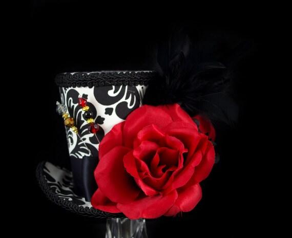 Black, White, and Red Rose Garden Large Mini Top Hat Fascinator, Alice in Wonderland, Mad Hatter Tea Party, Derby