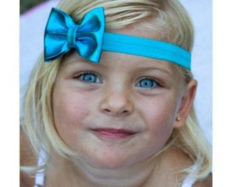 Aqua Bow Headband, Aqua Headband, Aqua Bow, Aqua Blue Headband, Metallic Bow Headband, Newborn Photo Prop, Aqua Flower Girl Headband