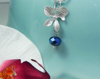 Silver and Cobalt Blue Orchid Necklace, flower dangle pendant, matte silver orchid, ORCHID Bridesmaid Necklace