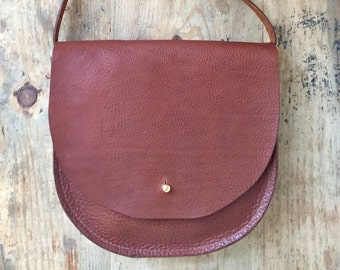 Small tan leather saddle bag, tan leather women's handbag, tan leather shoulder bag, tan leather cross body bag, small tan leather purse