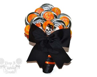 Customizable Sugar Skull Lollipop Bridal Bouquet, Sugar Skull Wedding bouquet, day of the dead wedding, Halloween wedding, bouquet ideas