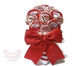 Red Lollipop Bouquet, Red Bridal Bouquet, Valentines Wedding Bouquet, Christmas Wedding Bouquet, 4th of July Wedding, Unique Wedding ideas
