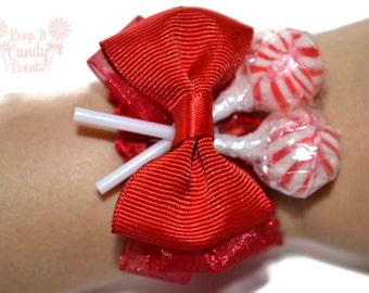 Red Lollipop Wrist Corsage, Red Corsage, Candy Corsage, Red Wedding Corsage, Red Prom Corsage, Unique Prom Corsage, Unique Corsage Ideas