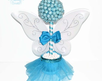 Blue Lollipop Fairy Princess Topiary, Candy Fair Centerpiece, Fairy Candy Buffet, Fairy Birthday, Princess Birthday, Baby Shower Candy