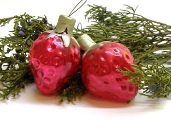Set of 2 Red Strawberry Glass Christmas Ornament Soviet vintage Christmas tree ornament Holiday decor Russian Blown glass Christmas decor