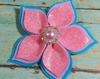 Flower Hair Clip - Felt Flower Clip - Layered Felt Flower Clip - Flower Clip - Felt Flower - Glitter Flower Hair Clip - Ready to Ship