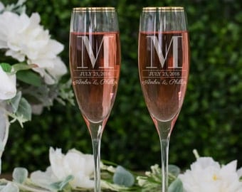 Personalized Kate Spade Orleans Square Toasting Flutes - (Set of TWO) Custom Engraved Gold Rim Champagne Glasses - Wedding Engagement Gift