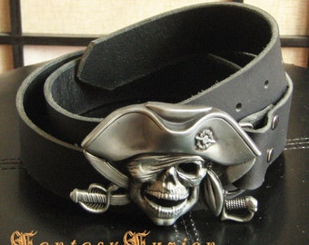 Pirate Captain Leather Belt with Skull Buckle