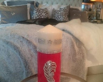 Luxury candles - Home decor - Large candles - Pillar candls - Red and cream candles - Housewarming gifts