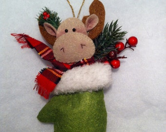 Felted reindeer ornament