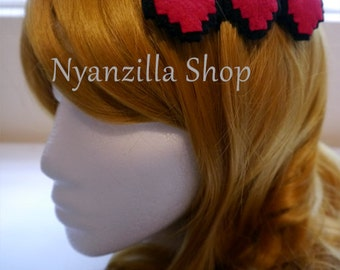 Felt Hair Clip --- Retro Gamer Health Bar Pixel Hearts