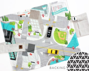 Travel Play Mat - Downtown City Car Mat | B+W Geometric Backing | Folding Car Mat | Kids Travel Activity | Play Car Mat