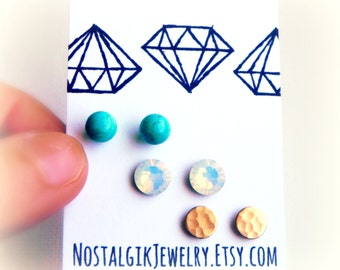 Stud Earring Set - Turquoise Opal and Brass