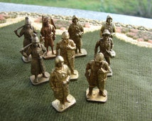 Set of 9 Vintage like Bronze Miniatures Swiss soldiers figurines / Warrior man with sword and shields / collectible home decor / metal art /