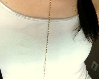Key and Stone Pull-Through Necklace-28.5""