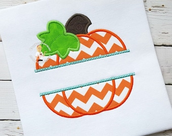 Split Pumpkin Applique Design - Instant EMAIL With Download - 4 sizes - for Embroidery Machines