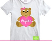 Valentine Iron On - Bear Iron On - Personalized Valentine Bear Iron On Transfer - Digital & Printed Available