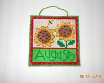 August Sunflower Wall hanging in Plastic canvas