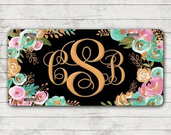 Classy Mint & Gold Floral Front License Plate Personalized Monogrammed Car Tag Car Accessories Gift Sweet 16 Cute Car Accessories For Women