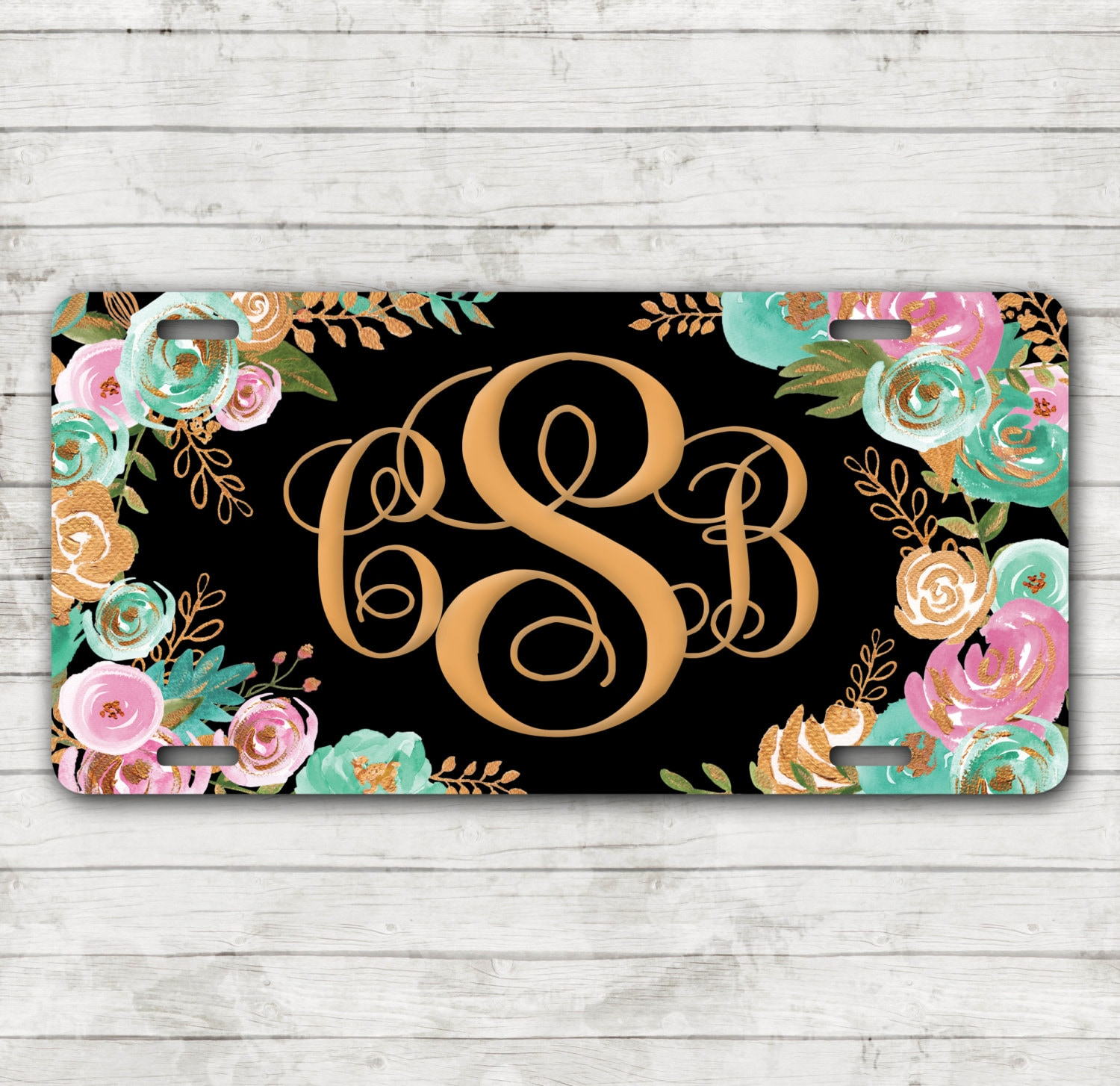 Classy Mint & Gold Floral Front License Plate Personalized