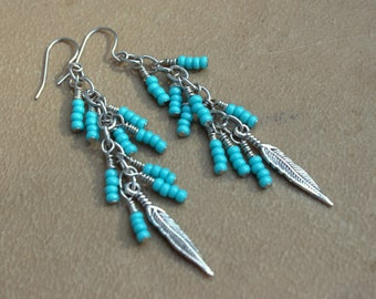 "3""Gypsy Waterfall Earrings~Silver Feather Beaded~Bohemian Made~Cowgirl Southwest~Feather Style~Turquoise Crush~Turquoise Dangle Feather 3"""
