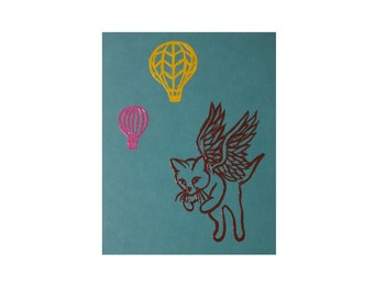 Flying cat embossed greeting card with hot air balloons