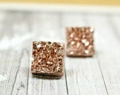 Rose Gold Bridesmaids Earrings, Metallic Bronze Faux Druzy Stud Earrings, Metallic Wedding Jewelry