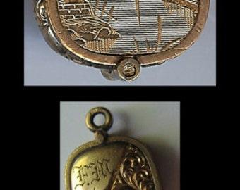 1887 ANTIQUE VICTORIAN gold fill scenic slide locket PENDANT