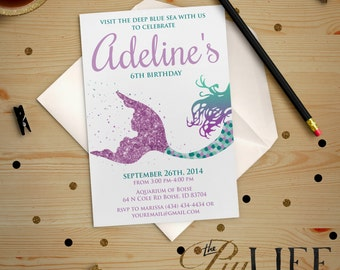 Glitter Siren Mermaid Under The Sea Birthday Invitation Printable DIY No. I195