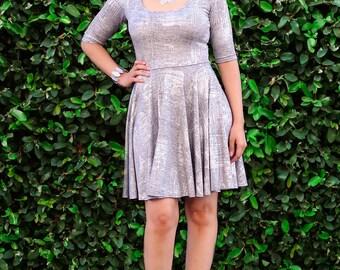 Fit and Flare Dress - Skater Dress - Womens Sundress - Full Circle Dress - Half Sleeves - Square Neckline - Plus Size Dress - Petite - Tall