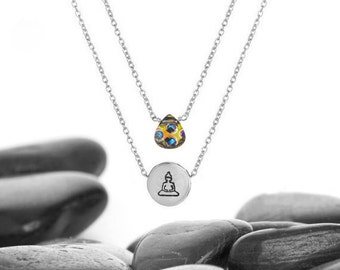 Swarovski Crystal and Sterling Silver Layered Necklace