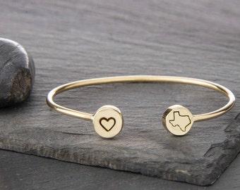 Texas, Texas Jewelry, State Jewelry, Texas Charm, Texas Bracelet, Texas State, Lone Star State, State of Texas, Texas State Jewelry, b249sB