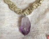 Raw Amethyst Hemp Necklace