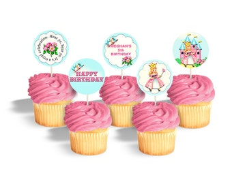 "Princess cupcake toppers / printable birthday cupcake toppers / editable PDF / personalized 2"" circles / 2 inch round / add your text, print"