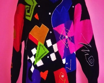 90s The Limited Geometric Tunic Sweater, Size M/L