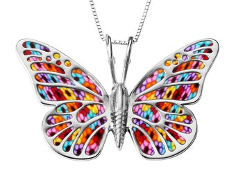 "Butterfly Necklace – 925 Sterling Silver Pendant with Handmade Multicolored Millefiori Polymer Clay - 16.5"" Chain"