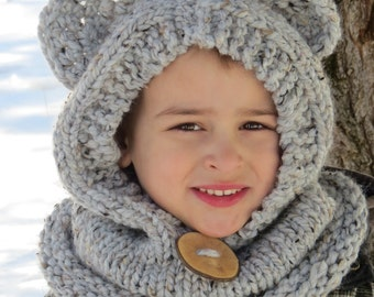 MADE TO ORDER Hand knit Hooded Bear Cowl Grey Marble