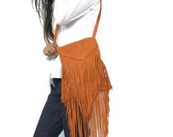 ON SALE Boho fringe purse in orange , Leather fringe purse ,Fringe leather purse , suede fringe bag