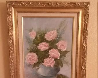 Lovely Vintage Original Oil Painting Shabby Chic Paris Apartment Roses Gold Frame