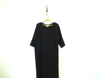 Long Black Thick Woven Cotton Dress